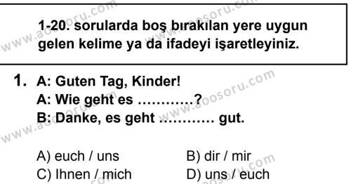 Almanca 7 Dersi 2013 - 2014 Yılı 1. Dönem Sınavı 1. Soru