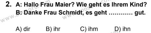 Almanca 7 Dersi 2013 - 2014 Yılı 1. Dönem Sınavı 2. Soru
