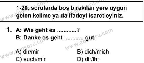 Almanca 7 Dersi 2013 - 2014 Yılı 2. Dönem Sınavı 1. Soru