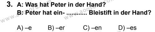 Almanca 7 Dersi 2013 - 2014 Yılı 2. Dönem Sınavı 3. Soru