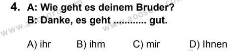 Almanca 7 Dersi 2013 - 2014 Yılı 2. Dönem Sınavı 4. Soru