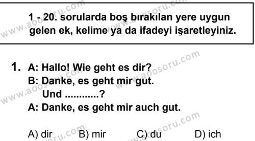 Almanca 7 Dersi 2013 - 2014 Yılı 3. Dönem Sınavı 1. Soru