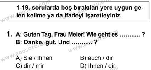 Almanca 7 Dersi 2014 - 2015 Yılı 1. Dönem Sınavı 1. Soru