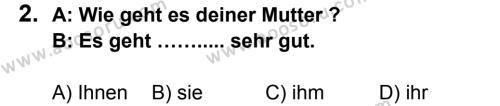 Almanca 7 Dersi 2014 - 2015 Yılı 1. Dönem Sınavı 2. Soru