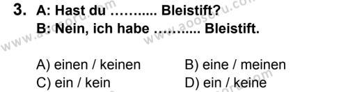 Almanca 7 Dersi 2014 - 2015 Yılı 1. Dönem Sınavı 3. Soru