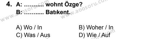 Almanca 7 Dersi 2014 - 2015 Yılı 1. Dönem Sınavı 4. Soru