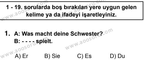 Almanca 7 Dersi 2014 - 2015 Yılı 3. Dönem Sınavı 1. Soru