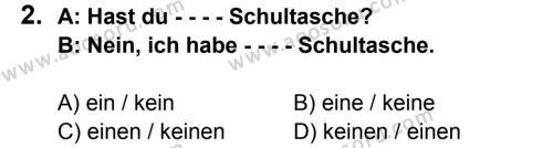 Almanca 7 Dersi 2015 - 2016 Yılı 1. Dönem Sınavı 2. Soru