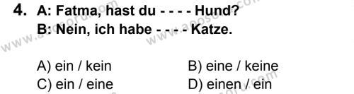 Almanca 7 Dersi 2015 - 2016 Yılı 1. Dönem Sınavı 4. Soru