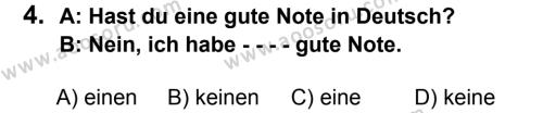Almanca 7 Dersi 2016 - 2017 Yılı 1. Dönem Sınavı 4. Soru
