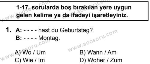 Almanca 7 Dersi 2016 - 2017 Yılı 2. Dönem Sınavı 1. Soru