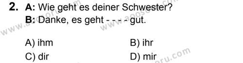 Almanca 7 Dersi 2018 - 2019 Yılı 1. Dönem Sınavı 2. Soru