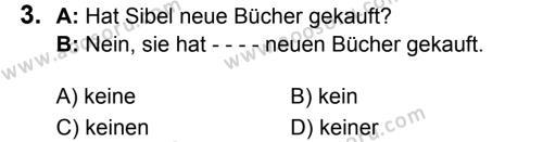 Almanca 7 Dersi 2018 - 2019 Yılı 1. Dönem Sınavı 3. Soru