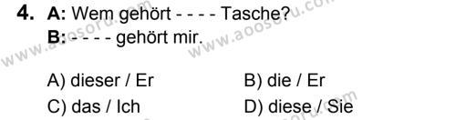 Almanca 7 Dersi 2018 - 2019 Yılı 1. Dönem Sınavı 4. Soru
