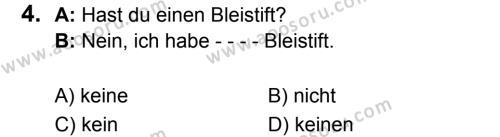 Almanca 7 Dersi 2017 - 2018 Yılı 3. Dönem Sınavı 4. Soru