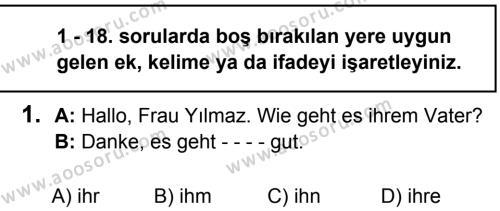 Almanca 7 Dersi 2019 - 2020 Yılı 1. Dönem Sınavı 1. Soru