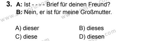 Almanca 7 Dersi 2019 - 2020 Yılı 1. Dönem Sınavı 3. Soru