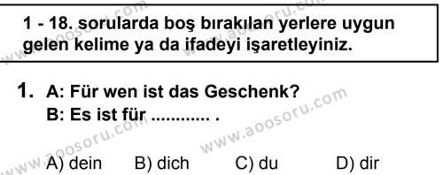 Almanca 8 Dersi 2011 - 2012 Yılı 2. Dönem Sınavı 1. Soru