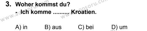 Almanca 8 Dersi 2011 - 2012 Yılı 3. Dönem Sınavı 3. Soru