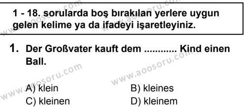 Almanca 8 Dersi 2012 - 2013 Yılı 2. Dönem Sınavı 1. Soru