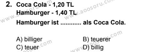 Almanca 8 Dersi 2012 - 2013 Yılı 2. Dönem Sınavı 2. Soru
