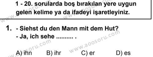 Almanca 8 Dersi 2012 - 2013 Yılı 3. Dönem Sınavı 1. Soru
