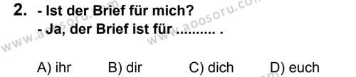 Almanca 8 Dersi 2012 - 2013 Yılı 3. Dönem Sınavı 2. Soru