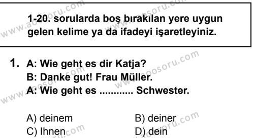 Almanca 8 Dersi 2013 - 2014 Yılı 1. Dönem Sınavı 1. Soru