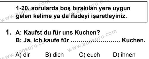 Almanca 8 Dersi 2013 - 2014 Yılı 2. Dönem Sınavı 1. Soru