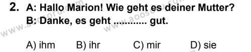 Almanca 8 Dersi 2013 - 2014 Yılı 2. Dönem Sınavı 2. Soru