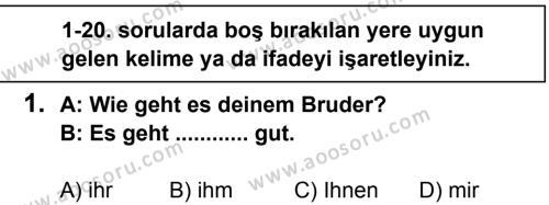 Almanca 8 Dersi 2013 - 2014 Yılı 3. Dönem Sınavı 1. Soru
