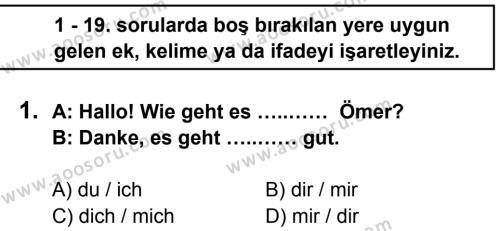 Almanca 8 Dersi 2014 - 2015 Yılı 1. Dönem Sınavı 1. Soru