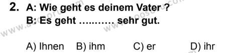 Almanca 8 Dersi 2014 - 2015 Yılı 1. Dönem Sınavı 2. Soru