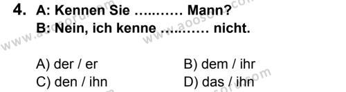 Almanca 8 Dersi 2014 - 2015 Yılı 1. Dönem Sınavı 4. Soru