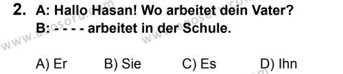 Almanca 8 Dersi 2015 - 2016 Yılı 2. Dönem Sınavı 2. Soru