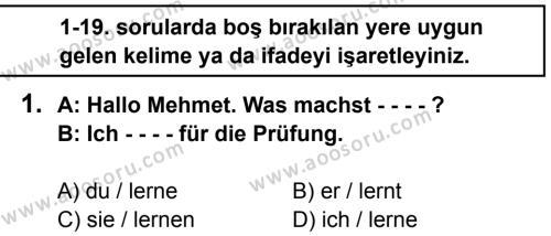 Almanca 8 Dersi 2015 - 2016 Yılı 3. Dönem Sınavı 1. Soru