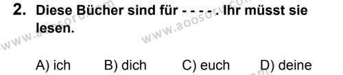 Almanca 8 Dersi 2015 - 2016 Yılı 3. Dönem Sınavı 2. Soru