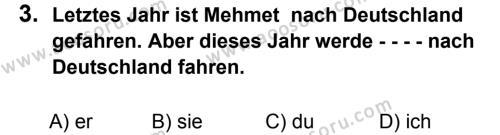 Almanca 8 Dersi 2015 - 2016 Yılı 3. Dönem Sınavı 3. Soru