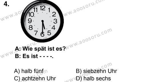 Almanca 8 Dersi 2016 - 2017 Yılı 1. Dönem Sınavı 4. Soru