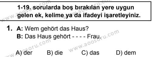 Almanca 8 Dersi 2016 - 2017 Yılı 2. Dönem Sınavı 1. Soru