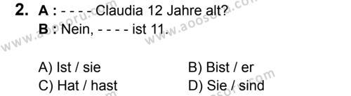 Almanca 8 Dersi 2017 - 2018 Yılı 1. Dönem Sınavı 2. Soru