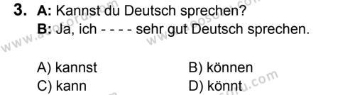 Almanca 8 Dersi 2017 - 2018 Yılı 3. Dönem Sınavı 3. Soru