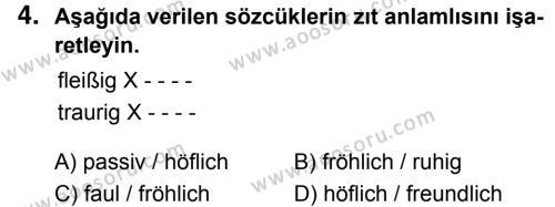 Almanca 8 Dersi 2018 - 2019 Yılı 1. Dönem Sınavı 4. Soru