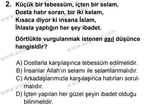 Din Kültürü ve Ahlak Bilgisi 5 Dersi 2012 - 2013 Yılı 1. Dönem Sınavı 2. Soru