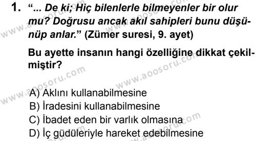 Din Kültürü ve Ahlak Bilgisi 5 Dersi 2012 - 2013 Yılı 2. Dönem Sınavı 1. Soru