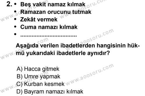 Din Kültürü ve Ahlak Bilgisi 5 Dersi 2012 - 2013 Yılı 2. Dönem Sınavı 2. Soru