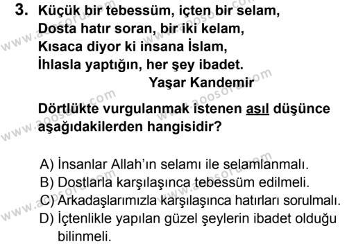 Din Kültürü ve Ahlak Bilgisi 5 Dersi 2012 - 2013 Yılı 2. Dönem Sınavı 3. Soru