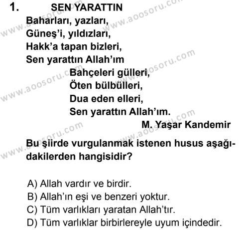 Din Kültürü ve Ahlak Bilgisi 5 Dersi 2012 - 2013 Yılı 3. Dönem Sınavı 1. Soru