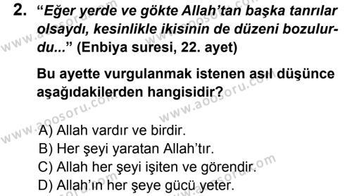 Din Kültürü ve Ahlak Bilgisi 5 Dersi 2012 - 2013 Yılı 3. Dönem Sınavı 2. Soru