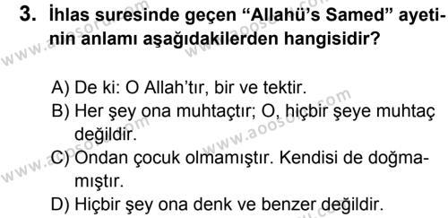 Din Kültürü ve Ahlak Bilgisi 5 Dersi 2012 - 2013 Yılı 3. Dönem Sınavı 3. Soru